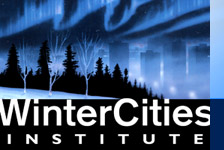 "Special thanks and credits for the logo image painting ""Winter Cities"", courtesy of Kean Leathem, Whitewood SK, Canada"
